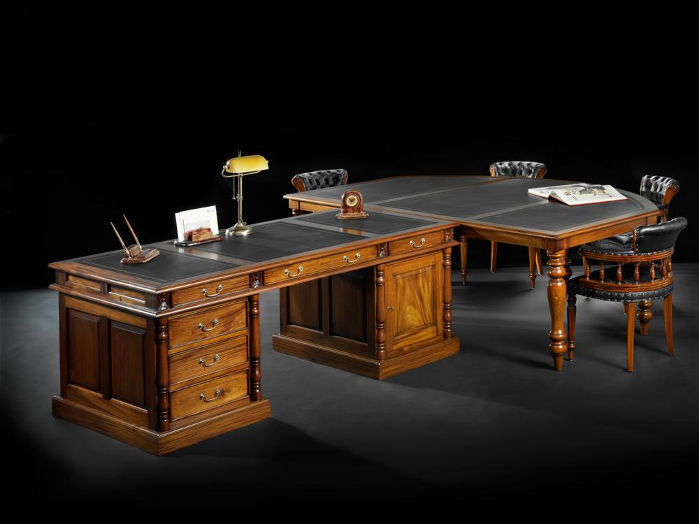 Klassiek bureau met vergadertafel mr higgins - Klassiek kantoor ...